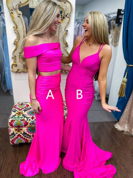 V Neck Off Shoulder Two Pieces Mermaid Long Hot Pink Prom Dresses, Off Shoulder Mermaid Hot Pink Formal Dresses, 2 Pieces Mermaid Hot Pink Evening Dresses