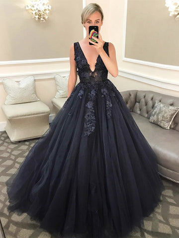 V Neck Open Back Beaded Appliques Black Lace Long Prom Dresses, V Neck Black Formal Evening Dresses, Black Ball Gown