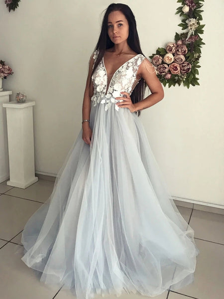 V Neck Open Back Lace Appliques Gray Long Prom Dresses, Open Back Lace Gray Formal Dresses, Gray Lace Evening Dresses