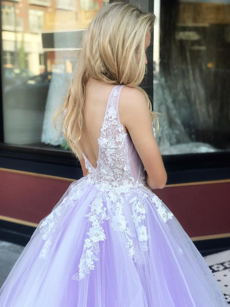 V Neck Open Back White Lace Appliques Top Purple Tulle Long Prom Dresses, Lace Purple Formal Dresses, Evening Dresses 2019
