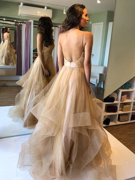 V Neck Puffy Backless Champagne Long Prom Dresses, Backless Champagne Formal Dresses, Champagne Evening Dresses, Ball Gown