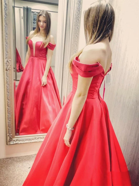 V Neck Satin Off the Shoulder Long Red Prom Dresses, Off Shoulder Red Formal Dresses, Red Evening Dresses