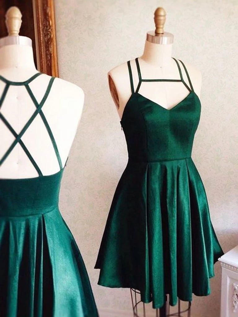 V Neck Short Hunter Green Prom Dress with Cross Back, Short Hunter Green Formal Graduation Homecoming Dresses