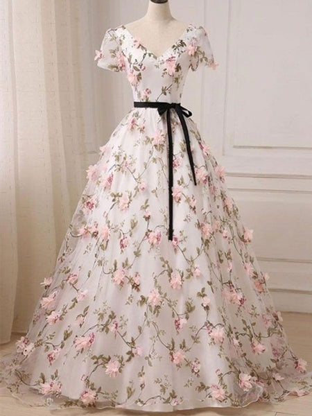 V Neck Short Sleeves 3D Flowers Long Prom Dresses, V Neck Graduation Dresses, Formal Dresses, V Neck Short Sleeves Evening Dresses