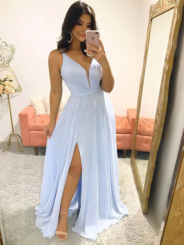 V Neck Sky Blue Long Prom Dresses, Sky Blue Long Formal Bridesmaid Dresses