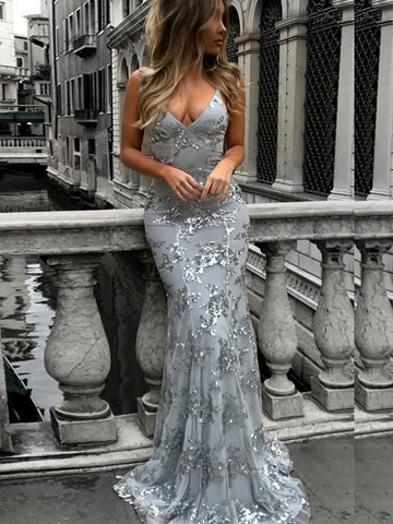 V Neck Spaghetti Straps Backless Mermaid Silver Grey Prom Dresses, Backless Mermaid Grey Formal Dresses