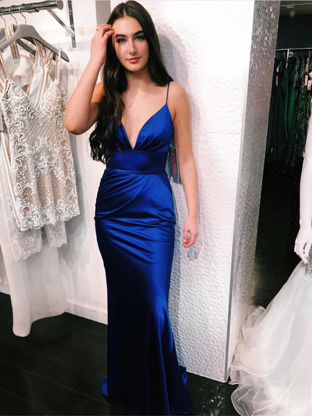 V Neck Spaghetti Straps Mermaid Long Royal Blue Prom Dresses, Mermaid Royal Blue Long Formal Dresses, Royal Blue Evening Dresses