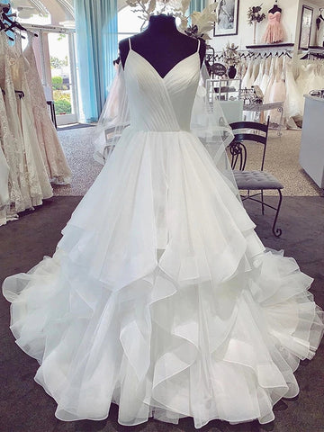 V Neck Spaghetti Straps Puffy White Long Wedding Dresses, V Neck Puffy White Prom Dresses, White Formal Evening Dresses