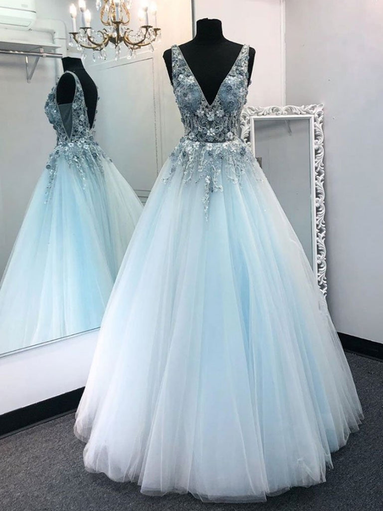 V Neck Tulle Floral Lace Appliques Long Sky Blue Prom Dresses, V Neck Sky Blue Formal Dresses, Blue Evening Dresses, Ball Gowns