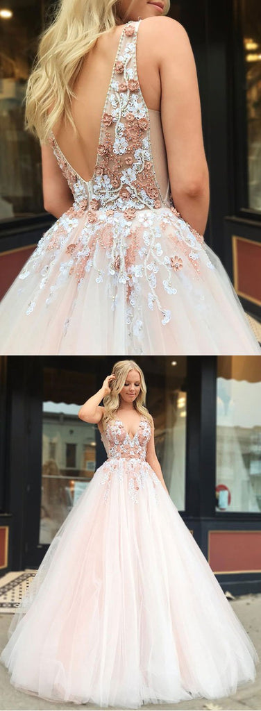 8ddd592123 ... V Neck Tulle Lace Applique Light Pink Long Prom Dresses, Light Pink  Formal Dresses, ...