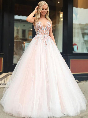 V Neck Tulle Lace Applique Light Pink Long Prom Dresses, Light Pink Formal Dresses, Evening Dresses