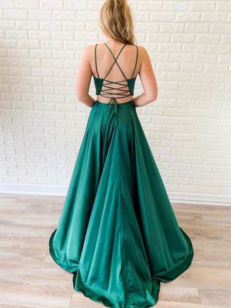 V Neck Two Pieces Backless Green Prom Dresses with Leg Split, Two Pieces Backless Green Formal Graduation Evening Dresses