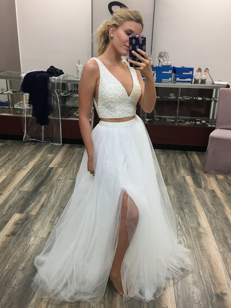 V Neck Two Pieces Beaded White Prom Dresses with Leg Slit, Two Pieces White Formal Dresses, White Sequins Evening Dresses
