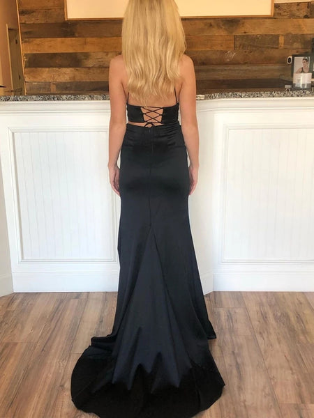 V Neck Two Pieces Mermaid Black Prom Dresses with High Slit, Two Piece Mermaid Black Formal Graduation Evening Dresses