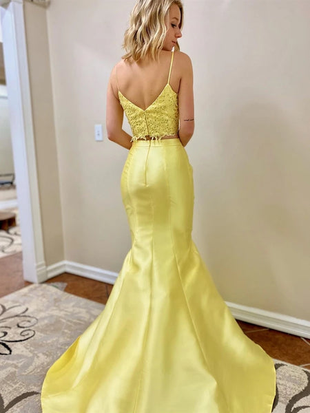 V Neck Two Pieces Beaded Mermaid Lace Long Yellow Prom Dresses, Two Pieces Lace Yellow Formal Dresses, Mermaid Lace Yellow Evening Dresses