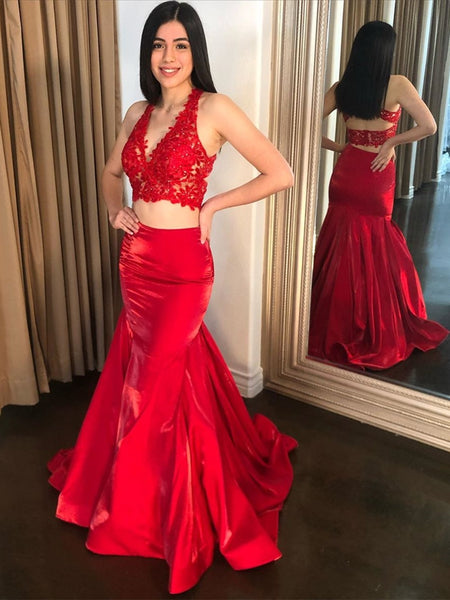 V Neck Two Pieces Mermaid Lace Top Red Long Prom Dresses, Two Pieces Red Lace Formal Dresses, Mermaid Lace Red Evening Dresses