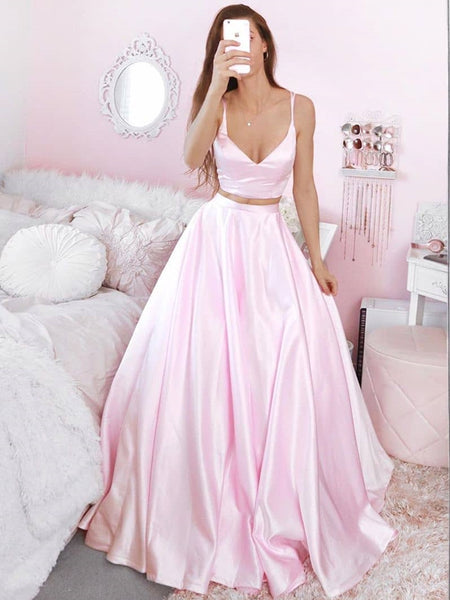 V Neck Two Pieces Pink Satin Long Prom Dresses, 2 Pieces Pink Formal Dresses, Pink Evening Dresses, Ball Gown