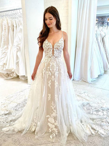 White Tulle V Neck Lace Floral Long Wedding Dresses, White Lace Prom Dresses, White Formal Evening Dresses