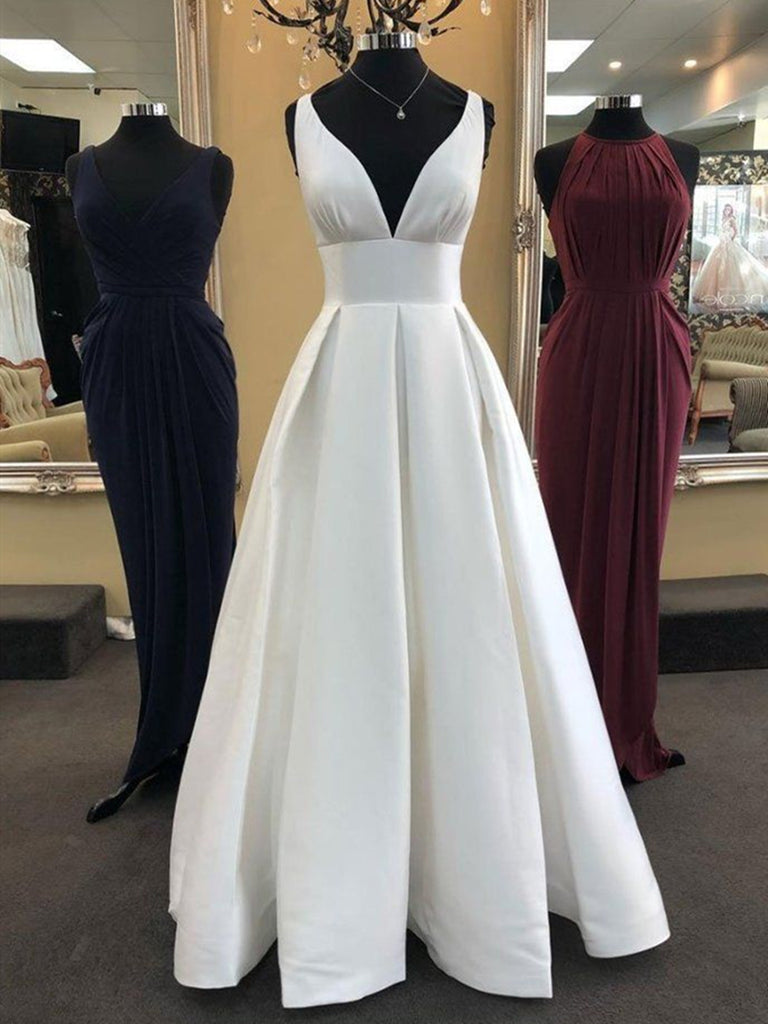 White A Line V Neck Satin Long Prom Dresses, V Neck White Evening Dresses, White Formal Dresses