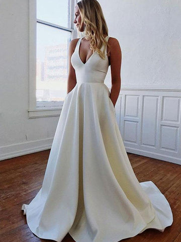 White A Line V Neck Satin Long Prom Dresses with Bowknot Back, V Neck White Formal Dresses, Evening Dresses