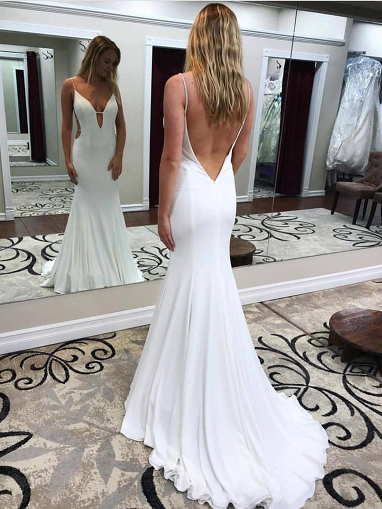 White Deep V Neck Mermaid Backless Long Prom Dresses with Sweep Train, White Backless Formal Dresses, White Evening Dresses