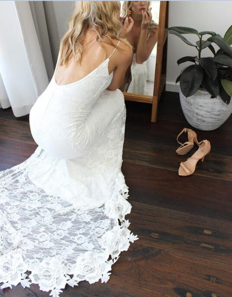 White Spaghetti Straps Backless Lace Boho Wedding Dresses, Backless White Lace Prom Dresses