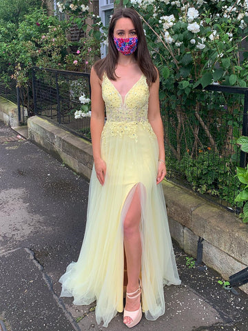 Yellow A Line V Neck Backless Lace Prom Dresses with Slit, Yellow Lace Formal Dresses, Yellow Evening Dresses