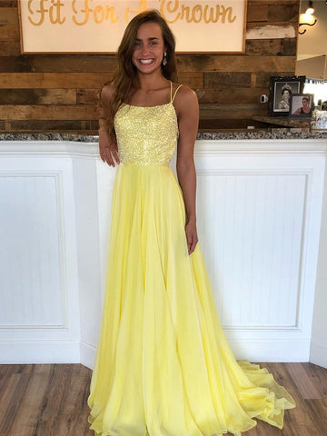 Yellow A Line Backless Sequins Chiffon Long Prom Dresses, Yellow Formal Dresses, Evening Dresses 2019