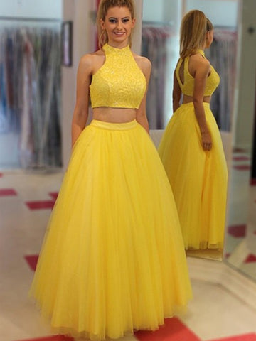 Yellow A Line High Neck Two Pieces Beading Tulle Long Prom Dresses, Two Pieces Yellow Formal Dresses, Yellow Evening Dresses