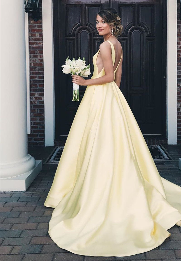 a9fab05a929b ... Yellow A Line V Neck Satin Long Prom Dresses, V Neck Backless Yellow  Satin Wedding ...