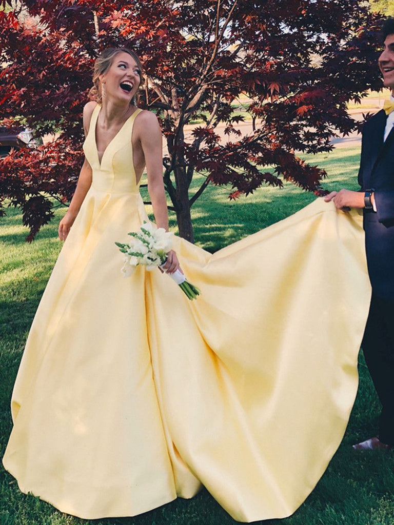 Yellow A Line V Neck Satin Long Prom Dresses, V Neck Backless Yellow Satin Wedding Dresses, Formal Dresses
