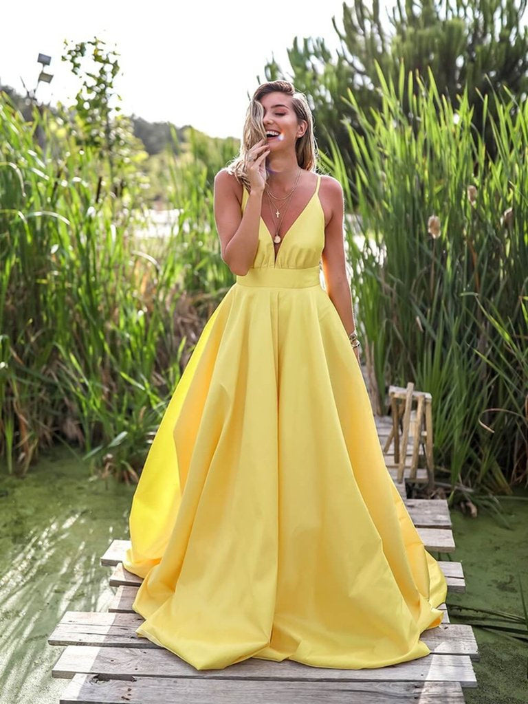 Yellow A Line V Neck Backless Satin Long Prom Dresses, Yellow V Neck Graduation Dresses, Yellow Long Evening Dresses