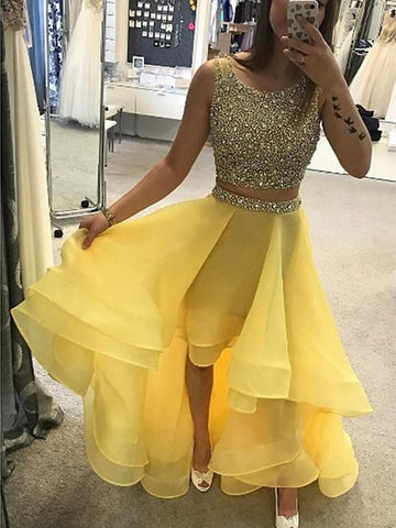 Yellow High Low Round Neck Two Pieces Beading Long Prom Dresses, Yellow Two Pieces Evening Dresses, Yellow Formal Dresses