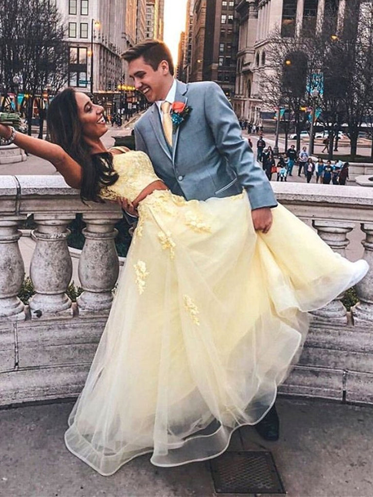 Yellow Two Pieces Lace Long Prom Dresses, Two Pieces Yellow Formal Dresses, Yellow Lace Evening Dresses