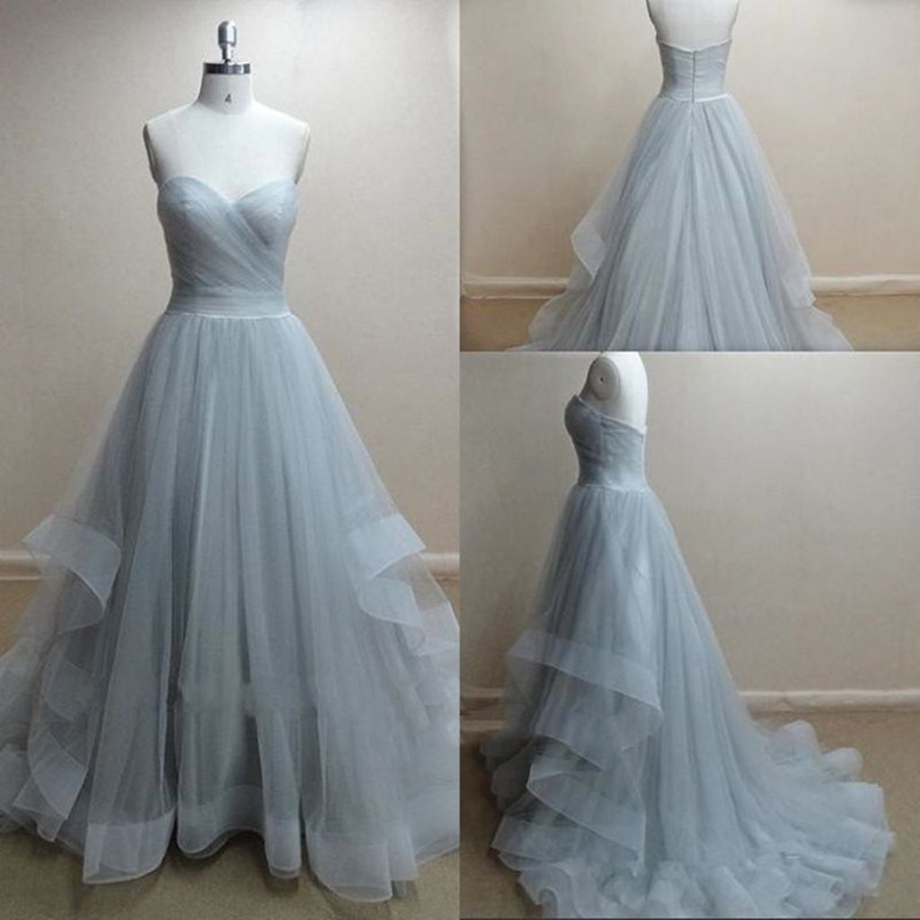 f061668e883 ... A Line Sweetheart Neck Grey Red Prom Dresses