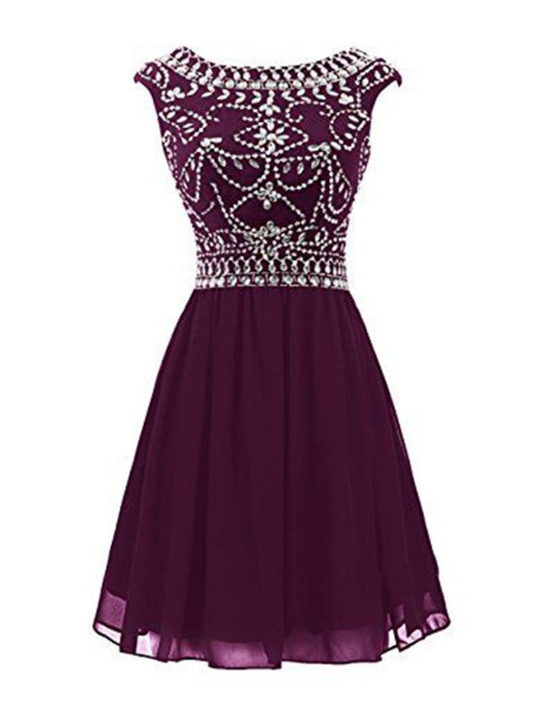 A Line Round Neck Short Prom Dresses, Short Graduation Dresses, Homecoming Dresses