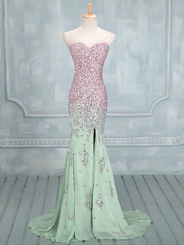 Custom Made Mermaid Sweetheart Neck Long Prom Dresses, Formal Dresses, Evening Dress