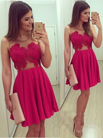 A Line Round Neck Short Lace Prom Dresses, Lace Homecoming Dresses
