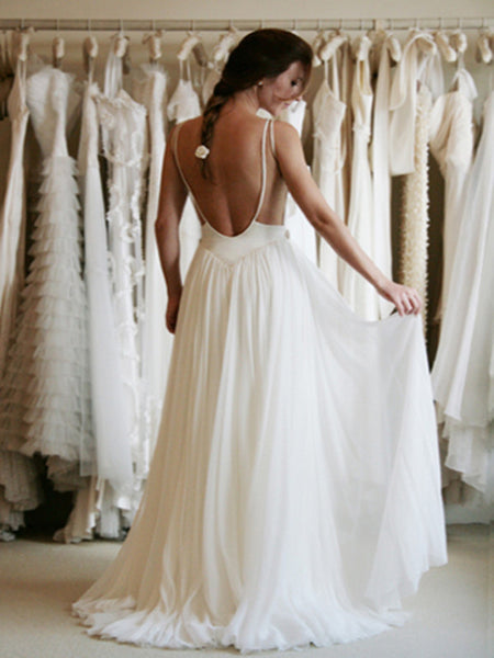 White A-line Chiffon Lace Backless Long Prom Dresses, Evening Dress