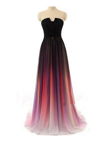 Custom Made A-line Ombre Colorful Chiffon Sweetheart Long Prom Dress, Evening Dress