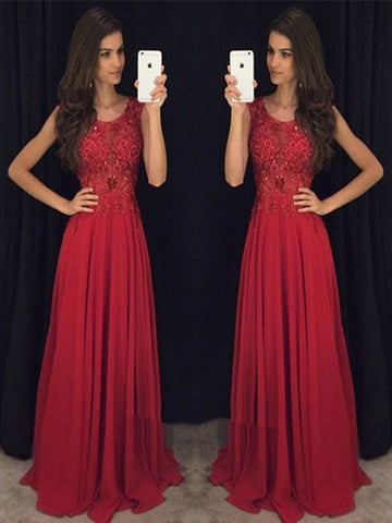 Round Neck Long Lace Prom Dresses, Lace Formal Dresses, Evening Dresses