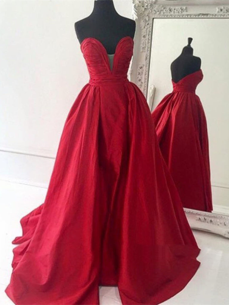 Custom Made Sweetheart Neck Red Ball Gown, Red Prom Dress, Red ...