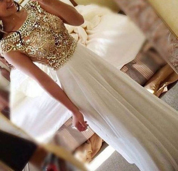 Custom Made A Line Round Neck Cap Sleeves Floor Length Prom Dress, Cap Sleeves Formal Dresses