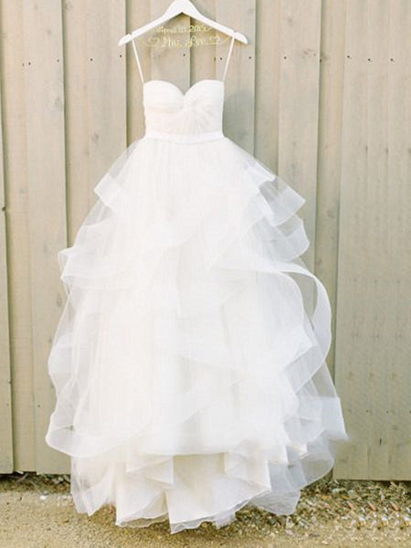 Custom Made Sweetheart Neck White Long Wedding Dresses, White Long Prom Dresses, Formal Dresses