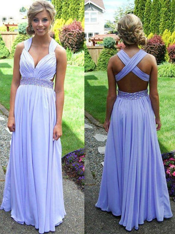 Light Purple A-line Straps Cross-back Beaded Long Prom Dress, Graduation Dress, Wedding Party Dress