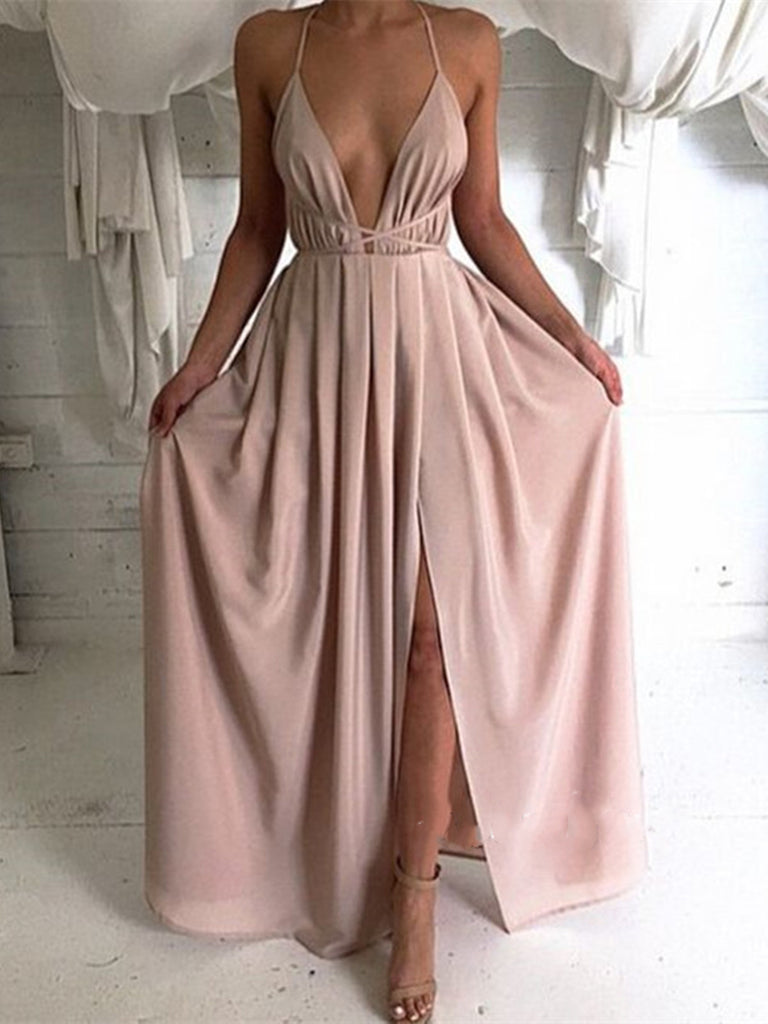 Custom Made Backless Long Prom Dresses, Sexy Women Dresses