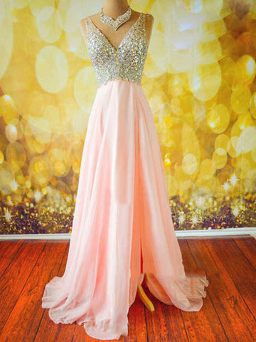 A Line V Neck Floor Length Prom Dress, Long Formal Dress, Evening Dress