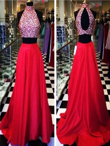 Custom Made High Neck 2 Pieces Red Long Prom Dress, Red Formal Dress