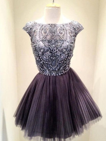 Short Grey Beaded Tull Prom Dresses, Short Grey Homecoming /Graduation Dresses