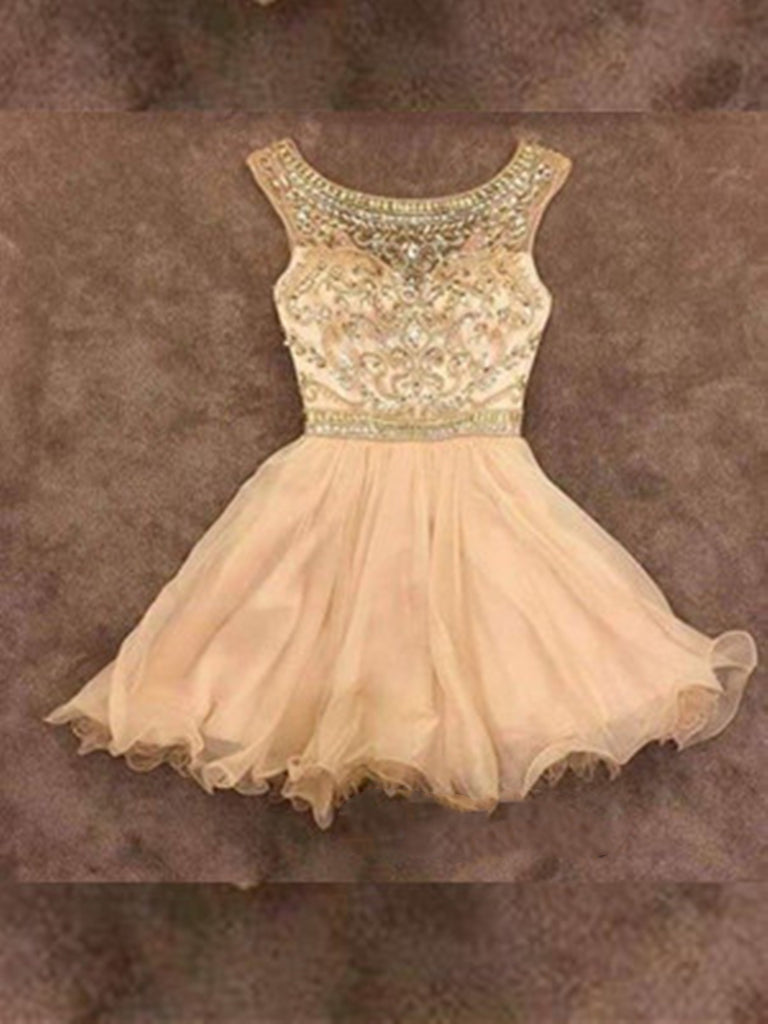 A Line Round Neck Short Prom Dresses, Short Homecoming Dress, Graduation Dresses